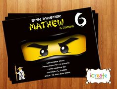 Ninjago Birthday Party Invitation ideas Birthday ideas Pinterest
