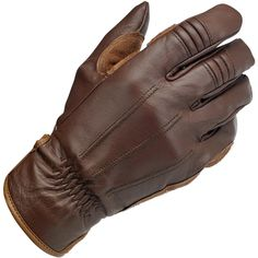 Biltwell Work Gloves - Chocolate • 100% heavy-duty cowhide construction throughout • Anatomically contoured suede palm panels with internal padding for abrasion resistance and shock isolation • Stitched accordion baffles on index and middle fingers for added flexibility • 9-oz. tricot half liner wicks moisture for a better grip • Adjustable wrist opening with embossed leather closure and elastic gathers • Raised welt detailing on leather backs • XS through XXL sizes