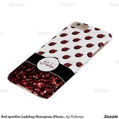 Trendy Red sparkles Ladybug Monogram iPhone 6 plus case by #PLdesign #RedSparkles #LadybugGift #SparklesCase