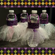 Aren't these adorable? Water bottles + Duct tape + Ribbon + Hair scrunchie + Glitter tool = Ballet tutu H2o party favors/drinks! I made these tonight for my daughters party next weekend. Love them!