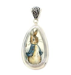 Broken-China-Jewelry- Beatrix Potter Peter Rabbit Blue Jacket Close Up Sterling Drop Pendant