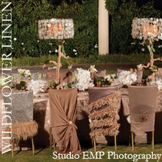 Love all the different chair coverings by Wildflower Linens.