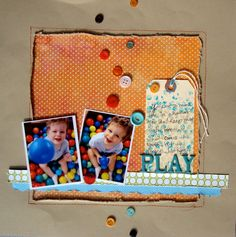 """Cut """"window"""" from your canvas and back it up with patterned paper. Layout by Jennifer Matott"""