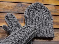 Komplet - rękawice z jednym palcem i czapka z Big Merino (Drops).