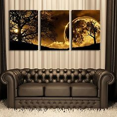 Stretched Canvas Art Dusk Under The Tree Set of 3 - USD $ 79.99 I love this wall art!!! Check it out @ lightinthebox.com