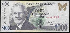Jamaica 2005 - Cédula no valor de mil dólares em estado flor de estampa! Muito rara e de alto valor!