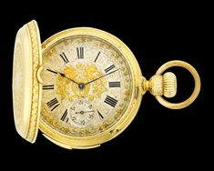 Gold Minute Repeater Swiss Pocket Watch~This handsome gold pocket watch by D. Borgeat, Geneva is an exemplary specimen of superior Swiss workmanship. Ornately engraved 18K yellow gold encases the timepiece, which tells the time on a silver dial engraved with elaborate gilt decoration in a foliate and scroll motif. Blued steel hands point to Roman and Arabic numerals, and a subsidiary seconds dial sits at 6 o'clock. ~M.S. Rau Gold Pocket Watch, Gold Watch, Antique Clocks, Telling Time, Watch Sale, Geneva, Quality Time, Roman, Handsome