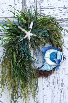 Nautical Tropical Fish Wreath Beach Wreath Coastal Decor | Etsy Coastal Wreath, Nautical Wreath, Coastal Decor, Beach Wreaths, Dried Flower Wreaths, Vine Wreath, Dried Flowers, Door Wreath, Tropical Decor