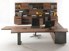 Mesa de escritório de madeira com prateleiras IMPLEMENT by Riva 1920 design Terry Dwan