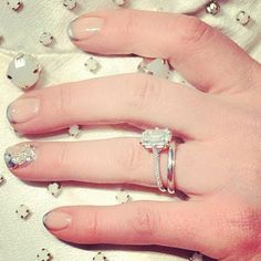 silver french manicure with glitter