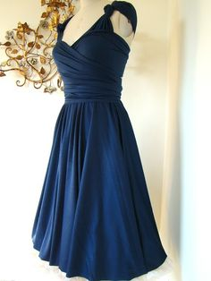 Navy blue bridesmaid dress. Everyone seems to like an A line cut, so maybe we could go with dresses that have those.