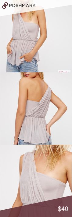 Free People Bella One Shoulder Top lilac Small Brand new with tags. Dusty lilac color. Very pretty top. Free People Tops