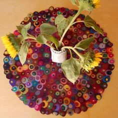 wet felted dotted round table runner