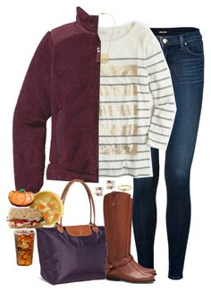"""""""Lunch and Pumpkin Cookies At Panera"""" by teamboby ❤ liked on Polyvore featuring J Brand, J.Crew, Patagonia, Longchamp, Tory Burch, Kate Spade and october2015"""