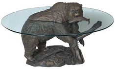 Comfy Beanbag Designed in Sleeping Bear : Primitive Design Of Grizzly Bear Sleeping Bag Made From Stone With Glass Table