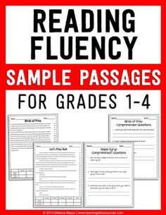 Fluency Sample Passages - FREEBIE Reading Fluency - This is a sample of each of the four grade level reading passagesReading Fluency - This is a sample of each of the four grade level reading passages Reading Fluency Activities, Reading Assessment, Fluency Practice, Reading Intervention, Listening Activities, Reading Games, Reading Resources, Kid Activities, Reading Help