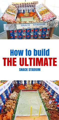 Create the Ultimate Snack Stadium using some household materials and delicious snacks to WOW your party guests! #ad #GameDayGlory