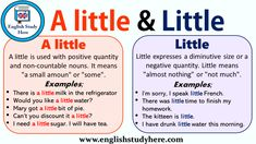 Using A little and Little in English English Past Tense, English Grammar Tenses, English Vocabulary, English Language, Learn English Words, English Study, English Class, English Lessons, English English
