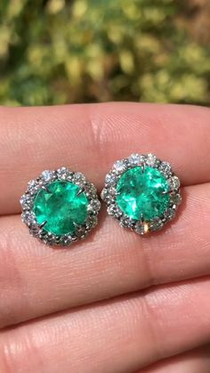 Cut Colombian emerald and diamond halo stud earrings Gold We have a sweet deal here at just Over in matching rich green round Colombian emeralds and in VS-SI white diamonds. Set in white gold with a secure screw back system.We have a sweet deal . Emerald Earrings, Emerald Jewelry, Diamond Stud Earrings, Gemstone Jewelry, Dangle Earrings, Colombian Emeralds, White Diamonds, Jewelery, Jewelry Necklaces
