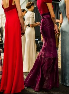 Carolina Herrera Fall 2013 Backstage Note the colour combination of vibrant red with plummy purple raspberry. Hmmmm.