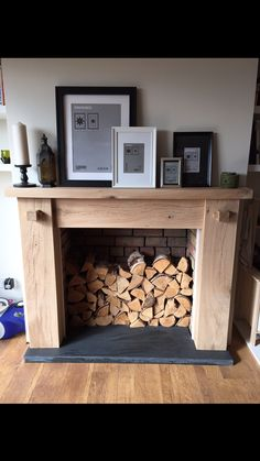 Made from sleepers. Oak Beam Fireplace, Wooden Fireplace Surround, Fake Fireplace, Farmhouse Fireplace, Fireplace Surrounds, Diy Fire Surround, Wooden Fire Surrounds, Front Rooms, Living Room Interior
