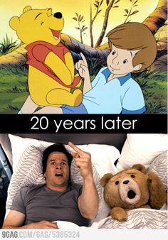 Pooh Bear + Christopher Robin = Ted + John :D