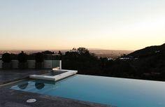 Infinity pool.  Modern home on Mulholland Drive