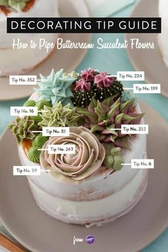 Here's a decorating tip guide to piping buttercream succulent flowers! Learn how to use the decorating tips in your collection to create amazing blooming succulents. Great for tea parties birthdays bridal showers and weddings these stunning mini cakes Flores Buttercream, Piping Buttercream, Buttercream Flowers Tutorial, Fondant Flowers, Icing Flowers, Fondant Rose, Edible Flowers, Diy Flowers, Edible Succulents