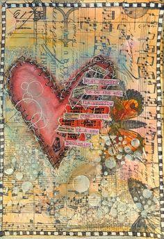 ART JOURNAL PAGE { BROKEN HEART } | Nika In Wonderland Art Journaling and Mixed Media Tutorials