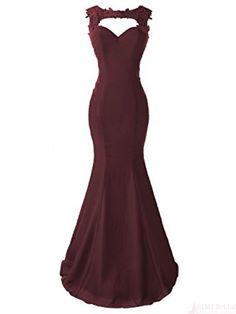 Burgundy Applique  Long Mermaid  Prom Dresses Evening  Dresses  #SIMIBridal #promdresses
