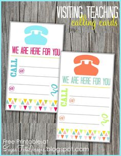 Visiting Teaching Message Calling Card- free printable.. perfect for my new calling!!