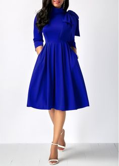 Rosewe Women Dress Royal Blue Mock Neck Fit And Flare Bowknot Embellished Mock Neck Pocket Dress Cheap Blue Dresses, Sexy Dresses, Dresses For Sale, Cute Dresses, Dresses Online, Casual Dresses, Dresses With Sleeves, Sleeve Dresses, Beautiful Dresses