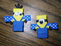 Despicable Me Minion Inspired Sculpted Ribbon Art Hair Bow Clip; gancho para el cabello con los minions