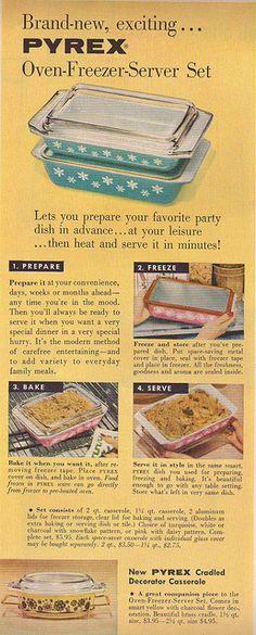 """Brand-new, exciting... PYREX Oven-Freezer-Server Set"" 1957"