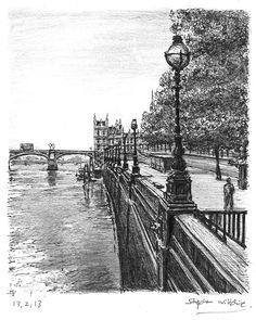 View of Westminster Bridge in summer - drawings and paintings by Stephen Wiltshire MBE