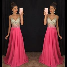 Cheap prom dresses, Buy Quality prom dresses long directly from China prom dresses prom Suppliers: 2017 Hot Sale V-Neck Prom Dress Long Party Gowns Shiny Crystal Beading Chiffon Formal Evening Dress Custom Vestidos De Novia Pageant Dresses For Teens, Homecoming Dresses Long, V Neck Prom Dresses, Prom Party Dresses, Modest Dresses, Formal Dresses, Prom Gowns, Formal Wear, Dress Prom