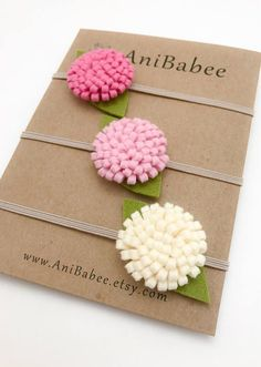 Made from Merino Wool Felt. Get ready to style your little one with these adorable felt flower headbands. The flowers measure approximately Baby Flower Headbands, Felt Headband, Newborn Headbands, Elastic Headbands, Felt Flowers, Fabric Flowers, Paper Flowers, Felt Diy, Felt Crafts