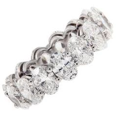 Oval Diamond Platinum Eternity Band Ring