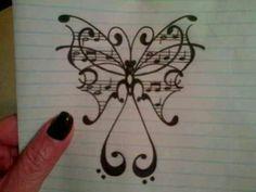 Butterfly and music tattoo idea, Tattoo, Butterfly and music tattoo idea. Tatoo Music, Music Tattoos, Body Art Tattoos, New Tattoos, Cool Tattoos, Note Tattoo, 1 Tattoo, Tattoo Bird, Music Drawings