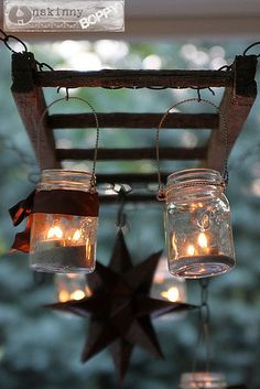 Outdoor lighting -creative idea with the ladder