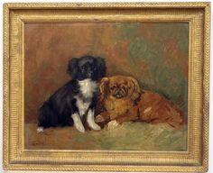 tableau ancien portrait de chien pékinois animal (L. CORBELLINI) ECOLE ITALIENNE