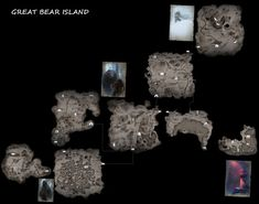 A 3800 x 3000 map of Great Bear Island with detailed maps of each zone. The Map A simple map with some challenge pictures added in. Bear Island, The Long Dark, Some Games, Dark Art, Ephemera, Videogames, Maps, Films, Gaming