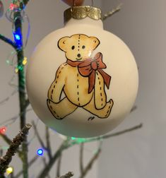 Vintage Porcelain Christmas Tree Ornament Hand Painted Yellow Teddy Bear Red Bow Green Holly And Berries Bulb Reads Best Wishes by VintagegirlByBelinda on Etsy