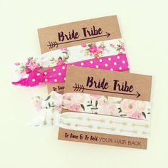 Team Bride Bachelorette Hair Tie Favor // Light Pink + Gold Glitter Hair Tie Bridesmaid Gift, Light Pink + Gold Bachelorette Party Hair Ties