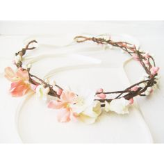 Flower Crown, Floral Crown, Bridal Headpiece, Pink Blush Coral... ($48) ❤ liked on Polyvore featuring accessories, hair accessories, hair, headbands, jewelry, floral garland, casting crowns, bridal headband and flower headband