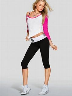 Cute to the core, with a slim cropped fit. The Yoga Crop Legging from Victoria's Secret PINK is the perfect pant for working out, and wearing out. Extra-comfy with a fold-over waist and cute cropped leg, it's a stretchy essential to wear, pair and love. Pink Outfits, Dance Outfits, Cool Outfits, Gym Outfits, Workout Outfits, Victoria Secret Outfits, Victoria Secret Pink, Pink Leggings, Yoga Leggings