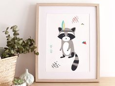 Poster for children INDIAN RACOON original print by greenandpaper