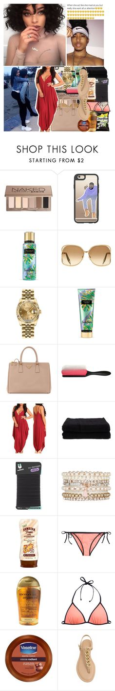 """""""Beach Date"""" by bahja-anon-xoxo ❤ liked on Polyvore featuring Sephora Collection, Casetify, Victoria's Secret, Victoria Beckham, Rolex, Prada, Denman, Home Source International, Conair and Accessorize"""