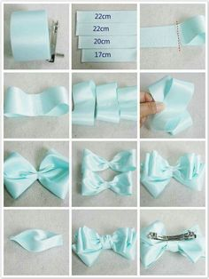 Bows are the perfect topper to gifts and a lovely addition to your wedding day decor. You can prepare bows with any kind of ribbon. Ribbon Hair Bows, Diy Hair Bows, Diy Ribbon, Bow Hair Clips, Blue Ribbon, Hair Bow Tutorial, Handmade Hair Bows, Making Hair Bows, Diy Headband