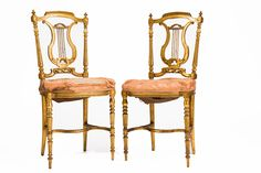 Pair 19th Century French Gilded Side Chairs. Replace the fabric with a beautiful contemporary and voila! www.wallrocks.com.au